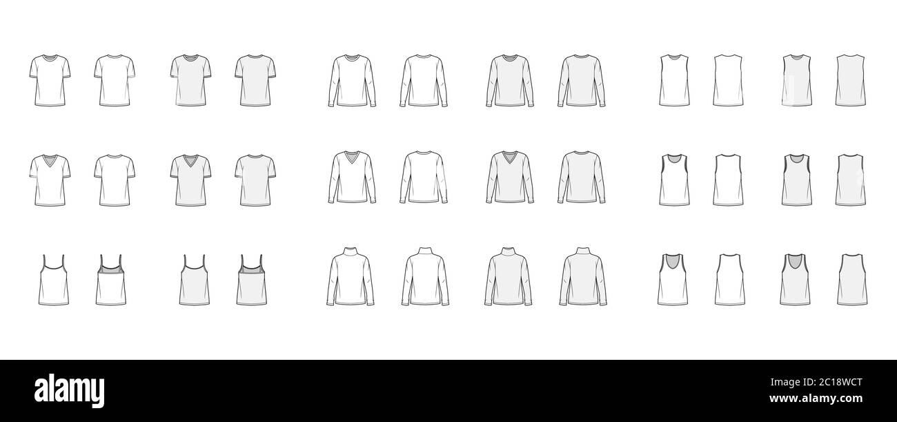 Set Of 9 Tops Technical Fashion Illustration Croqui Front And Back White And Color Style Women