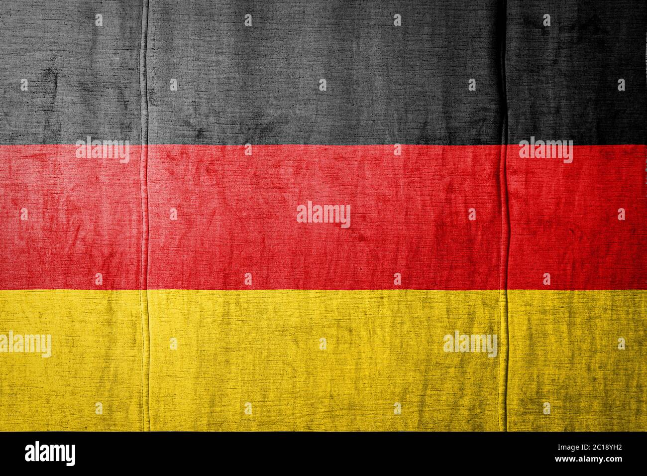 National Flag Of Germany Depicting In Paint Colors On Old Textile Flag Banner On Fabric Texture Background Stock Photo Alamy