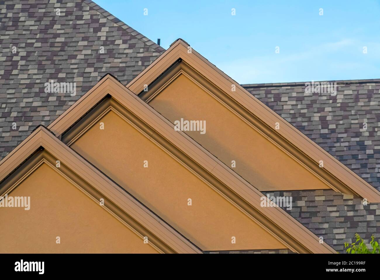 House Exterior With Front Gable Roof Design Against Blue Sky Background Stock Photo Alamy