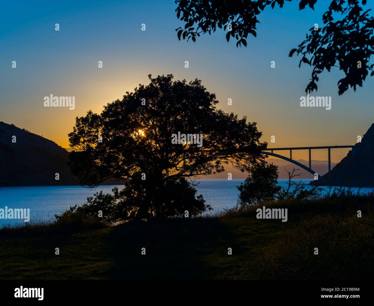 Sunset landscape bridge mainland to island Krk Croatia see view through dominant tree Stock Photo