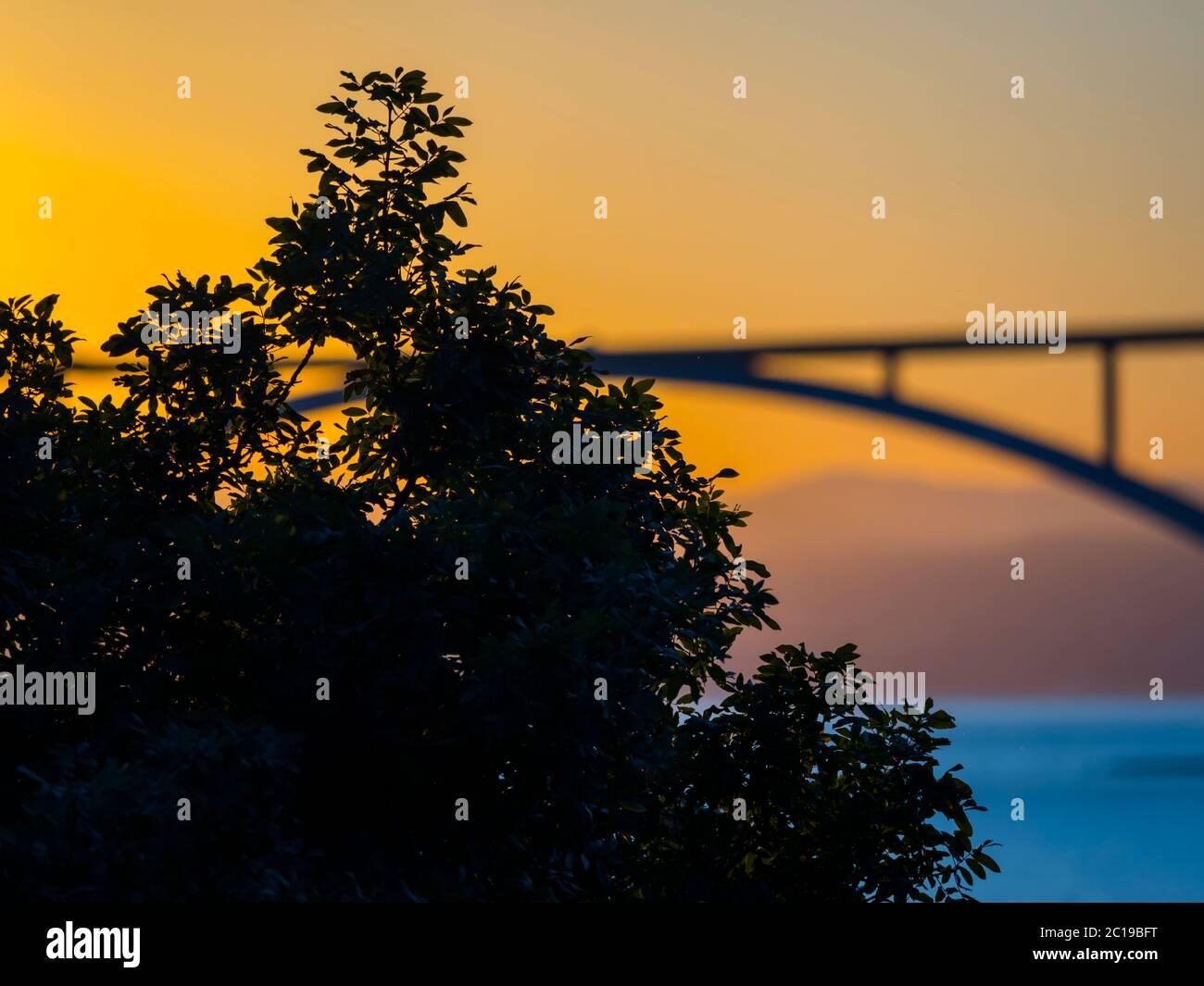 Sunset landscape bridge mainland to island Krk Croatia Stock Photo