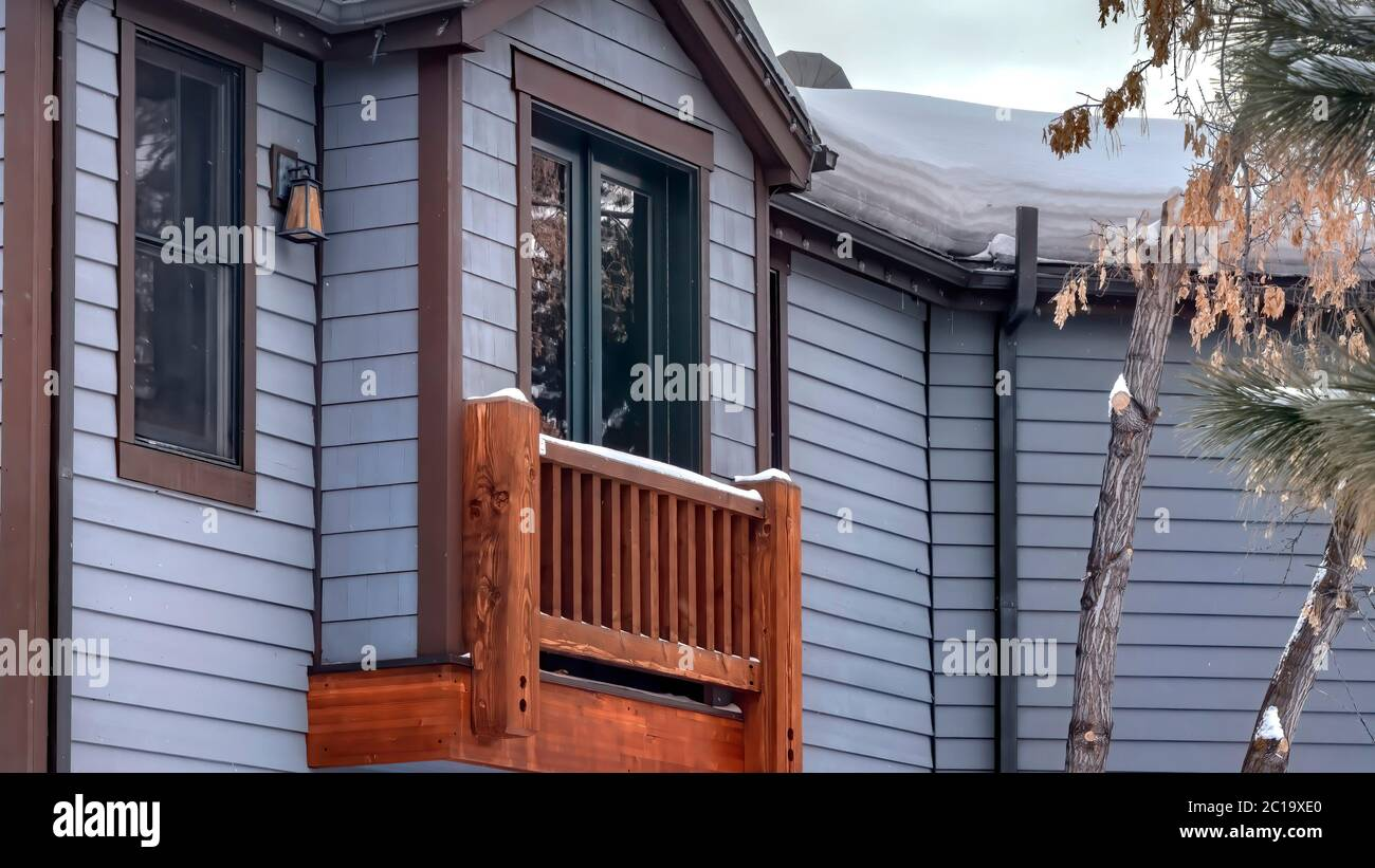 Panorama Box Bay Window Of Home With Gable Roof Sliding Door And Wooden Railing Stock Photo Alamy