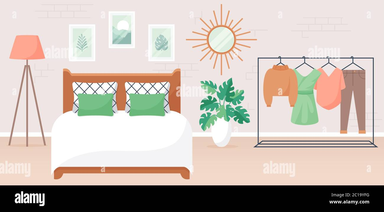Bedroom Interior Vector Illustration Design Of A Stylish Modern Room With Double Bed Clothes Rack Mirror And Decor Accessories Home Furnishings Stock Vector Image Art Alamy