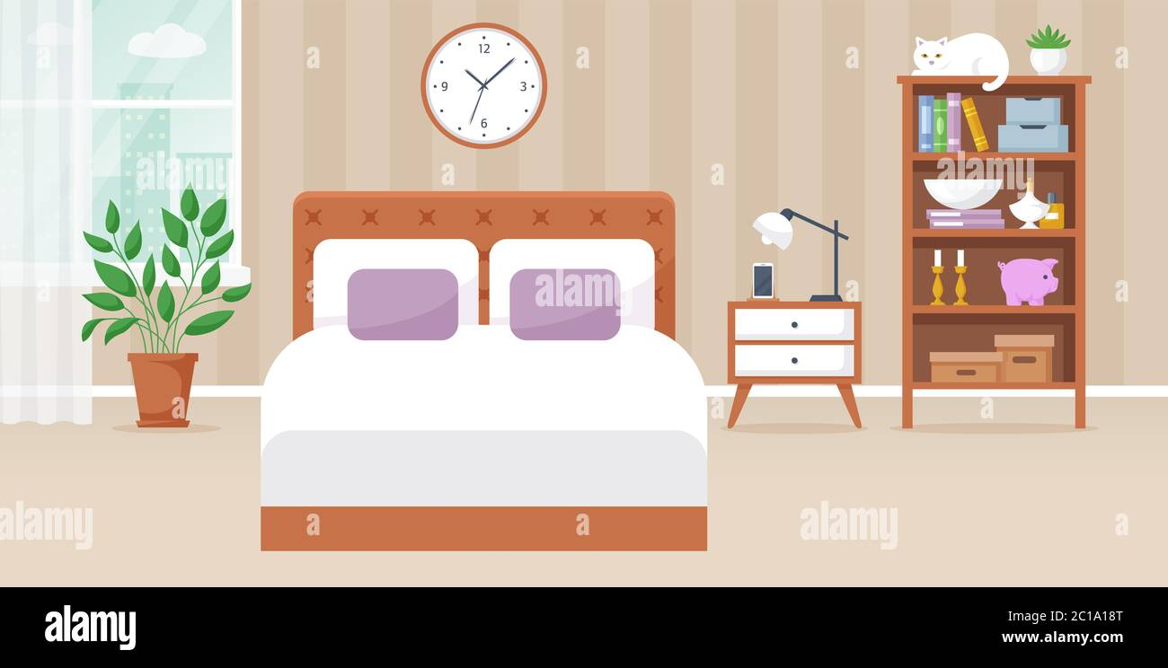 Bedroom Interior Vector Illustration Design Of A Cozy Room With Double Bed Bedside Table Window Bookcase And Decor Accessories Home Furnishings Stock Vector Image Art Alamy