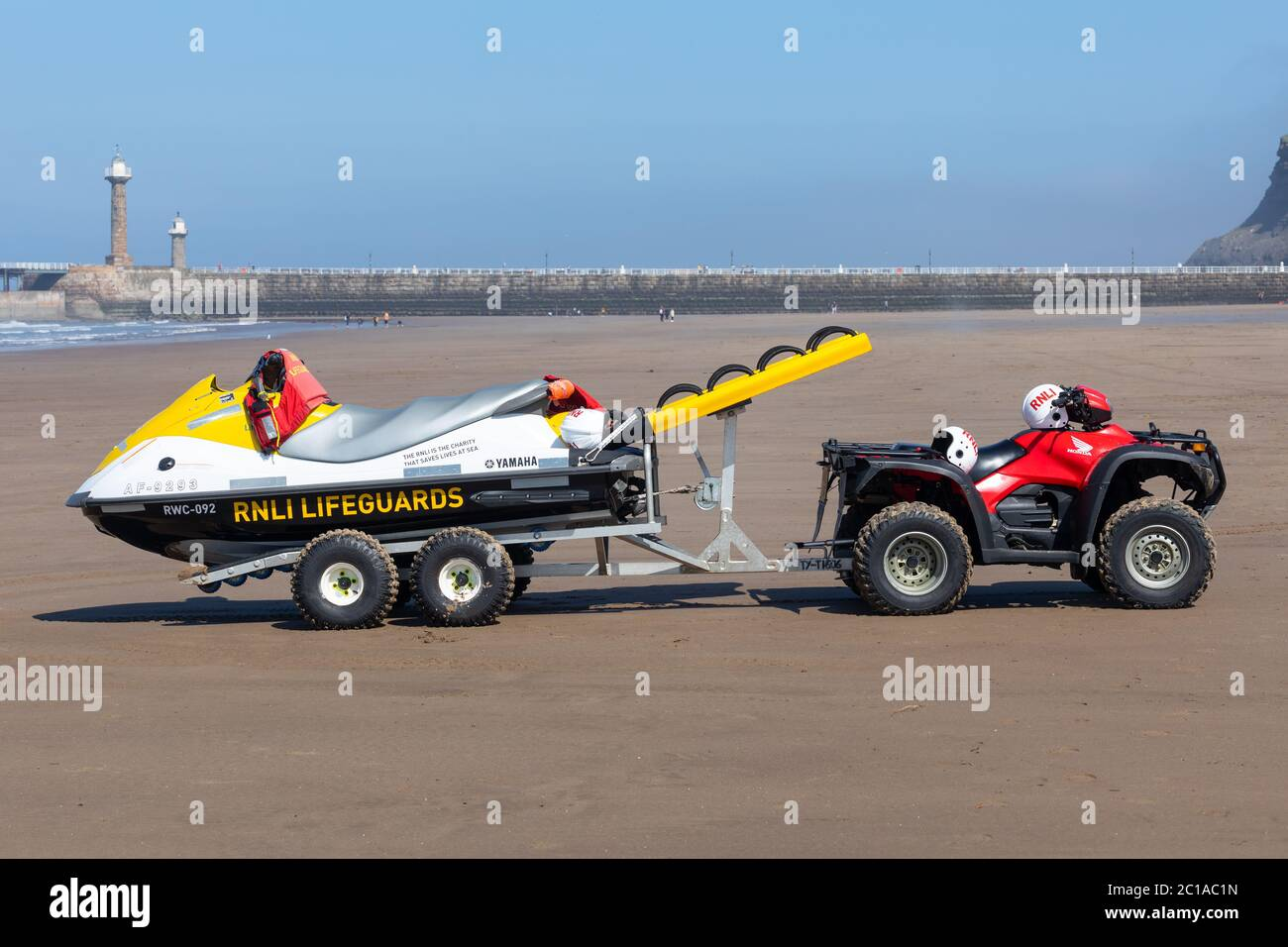 The RNLI patrolling the beach at Whitby, England. Stock Photo