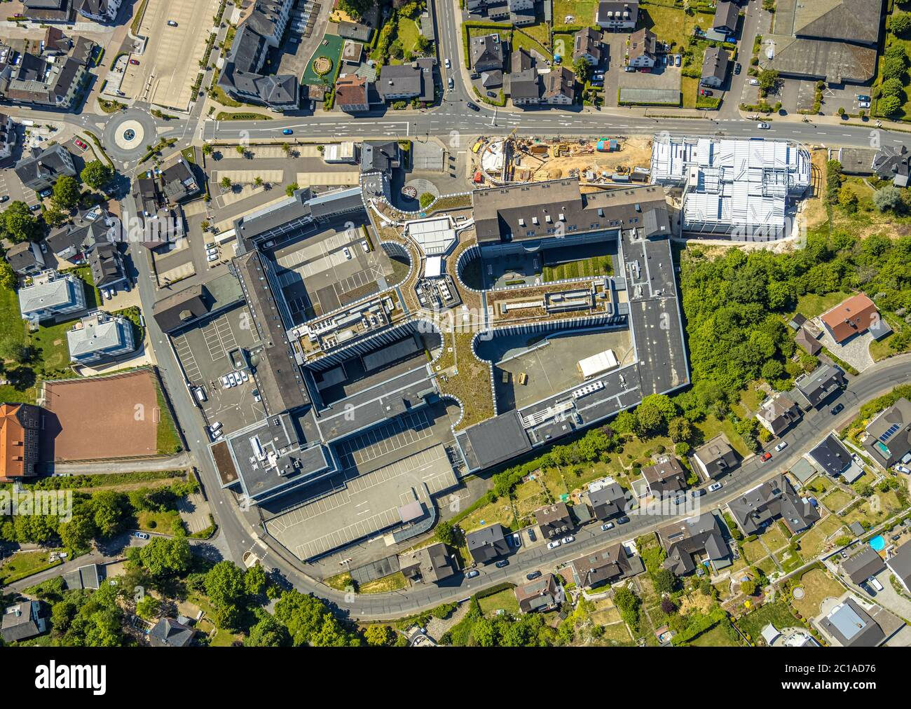 Aerial photograph, Viega Attendorn Campus, Building site Viega-Parkhaus an der Windhauser Straße, Attendorn, Sauerland, North Rhine-Westphalia, German Stock Photo