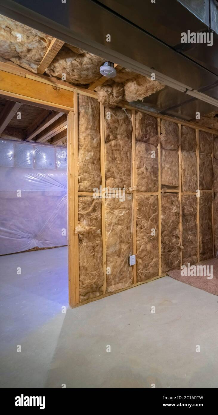 Vertical Frame Insulation Inside The Room Of A Frame House Stock Photo Alamy