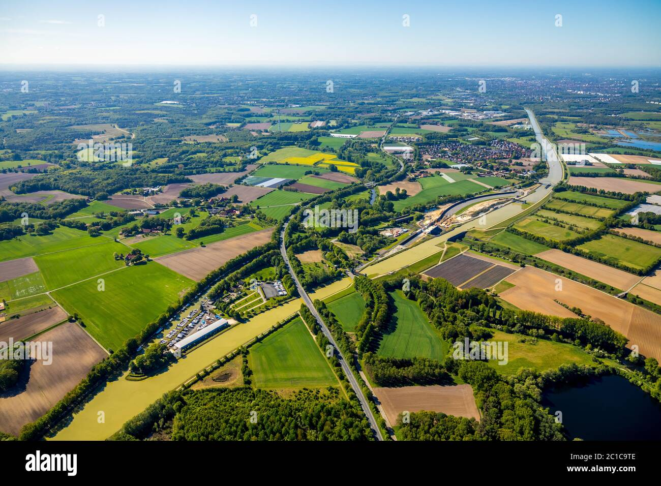 Aerial photograph, renewal of the canal overpass, Dortmund-Ems-Canal crossing of the Ems, river Ems, Greven, district Steinfurt, Münsterland, North Rh Stock Photo