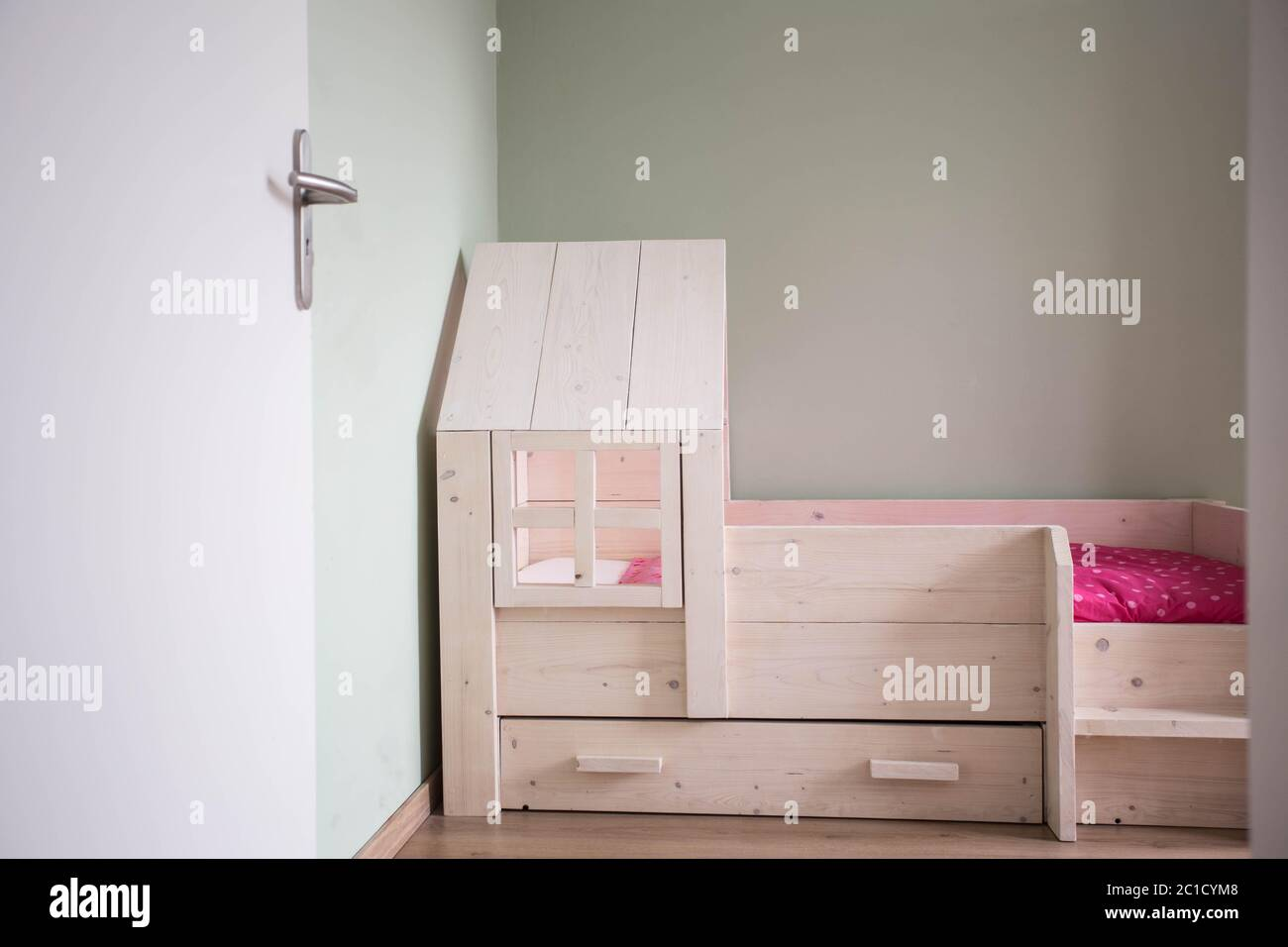 Children S Bedroom Modern Design With Wooden Simple Bed Stock Photo Alamy