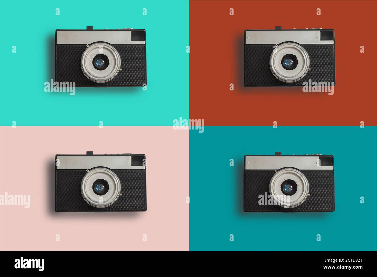 Colorful collage with retro vintage photo cameras Stock Photo