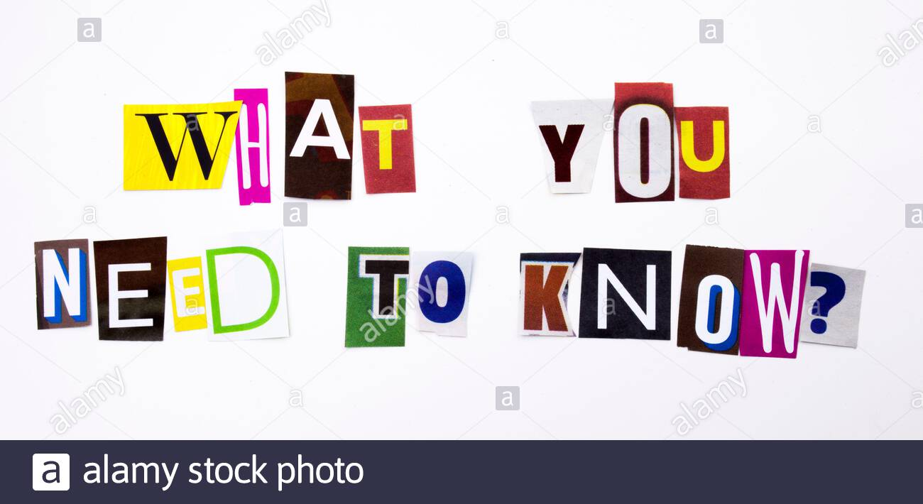A word writing text showing concept of What You Need to Know question made of different magazine newspaper letter for Business case on the white backg Stock Photo