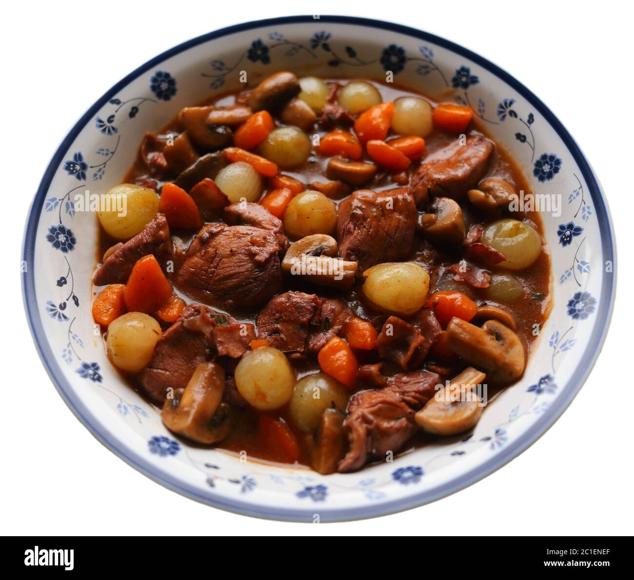 Coq Au Vin Typical French Dish Of Chicken In A Red Burgundy Wine Sauce With Mushrooms Carrots And Pearl Onions Or Shallots Stock Photo Alamy