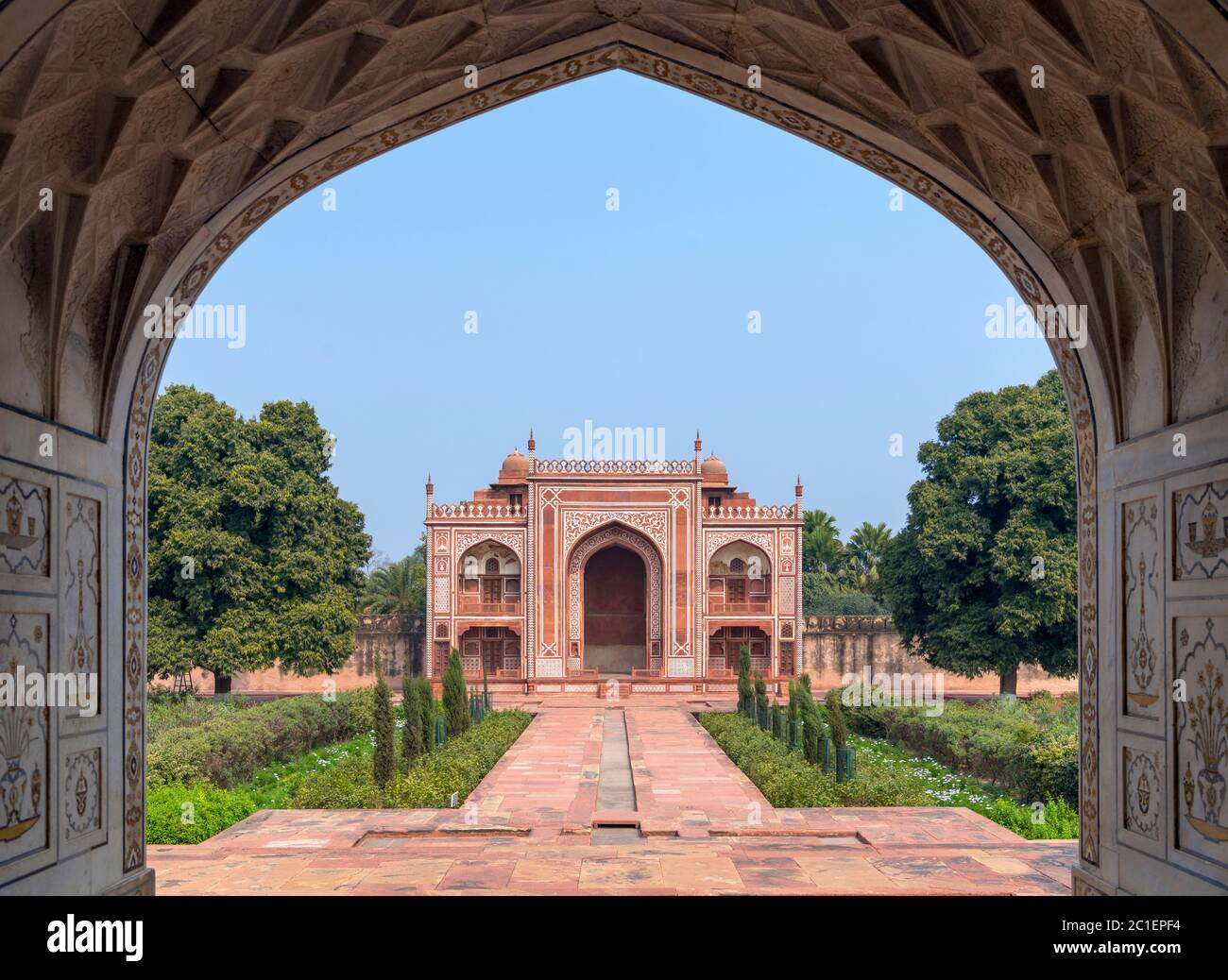 """View from the Tomb of Itmad-ud-Daulah (I'timād-ud-Daulah), also known as """"Baby Taj"""", a Mughal mausoleum in the city of Agra, Uttar Pradesh, India Stock Photo"""