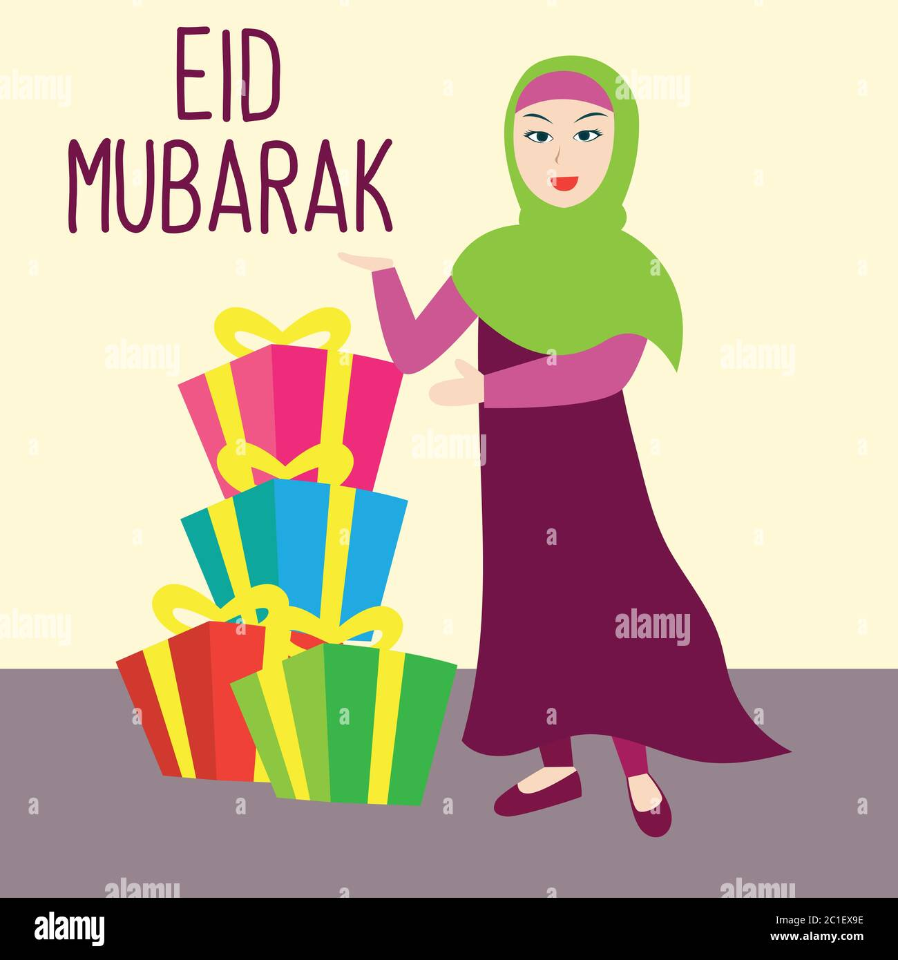 Eid Mubarak Gift For Eid Fitr Holiday Islamic Holiday Vector Illustration Stock Vector Image Art Alamy