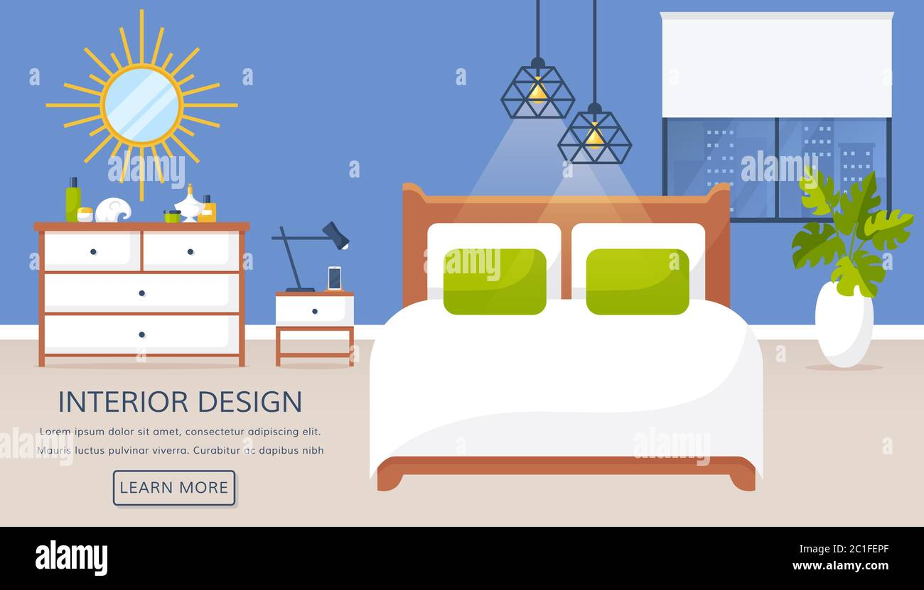 Bedroom interior. Vector web banner with place for text. Modern