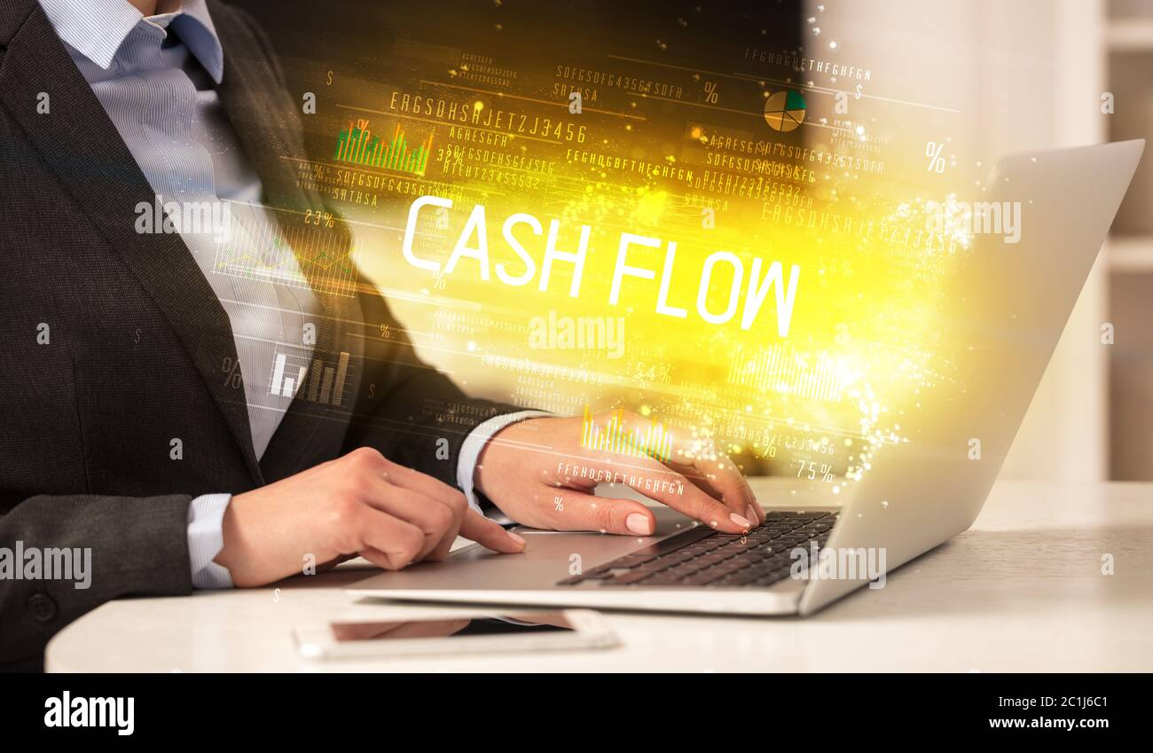 Closeup Of Businessman Hands Working On Laptop With Cash Flow Inscription Succesfull Business Concept Stock Photo Alamy