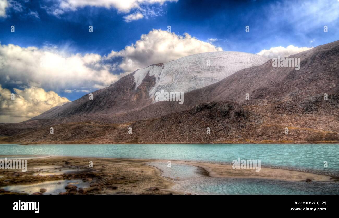 Panoramic view to lakes at Barskoon pass, river and gorge and Sarymoynak pass, Jeti-Oguz, Kyrgyzstan Stock Photo