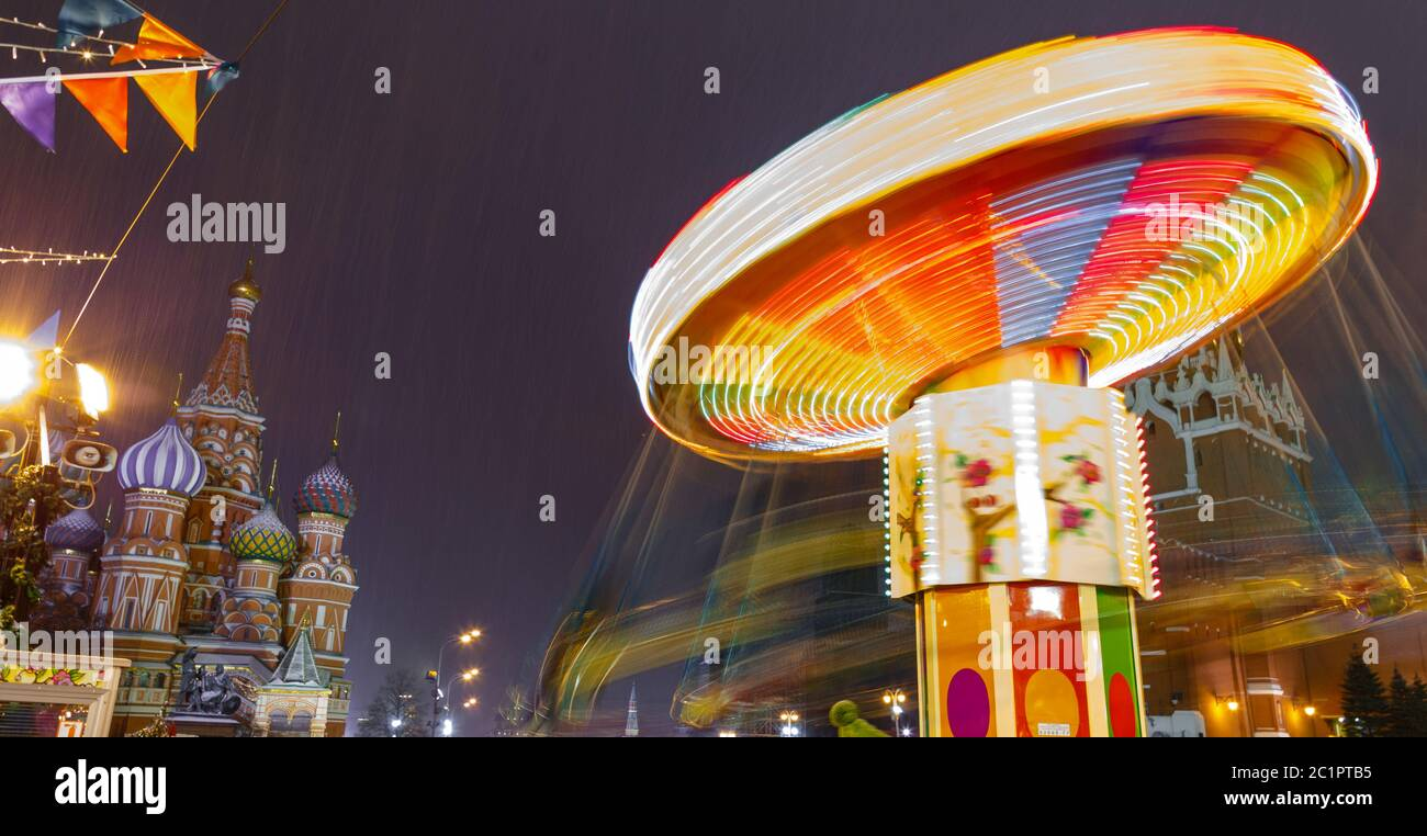 Moscow, Russia, December 5, 2017: People on Christmas market on Red Square in Moscow city center, Decorated and illuminated Red Stock Photo