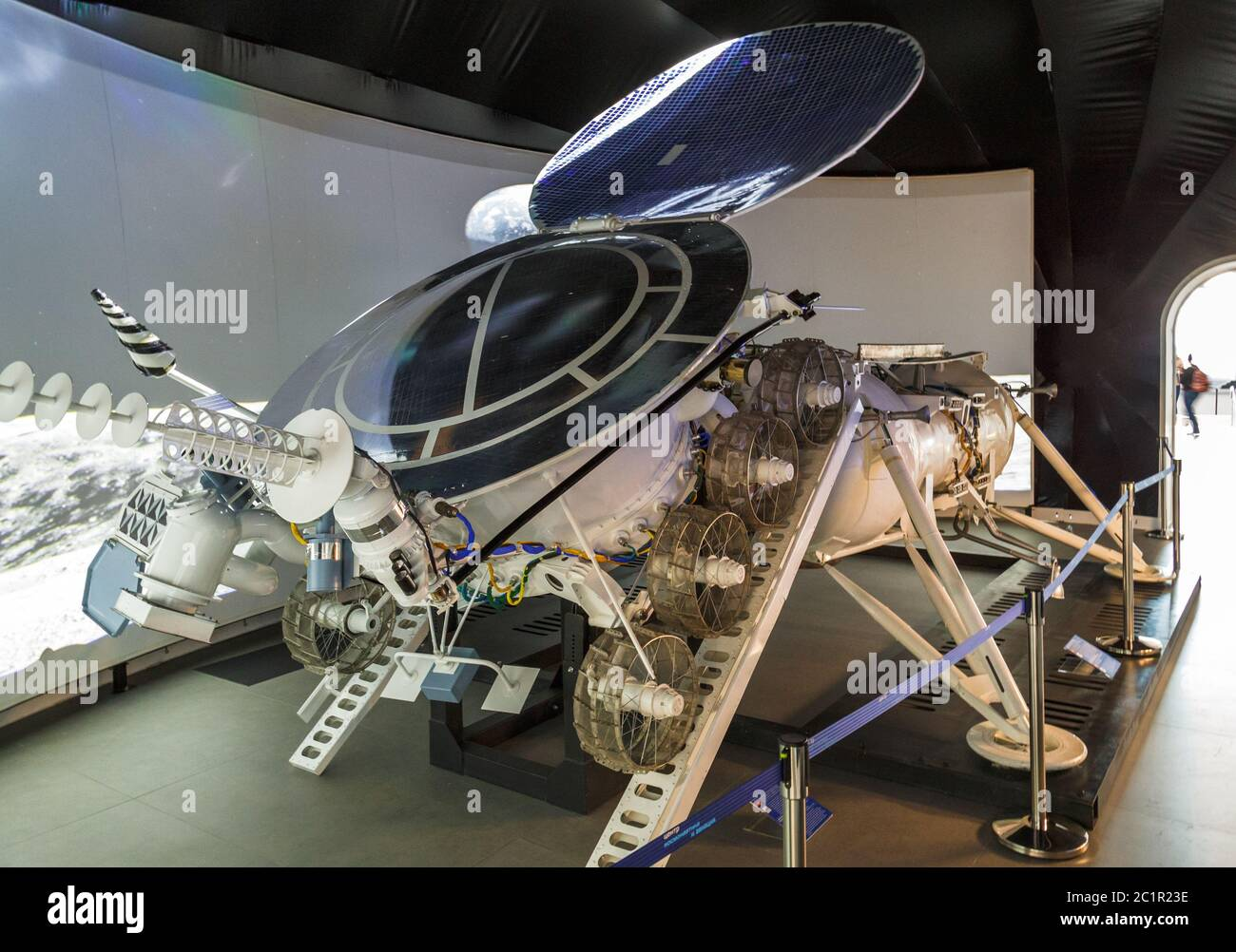 Moscow, Russia - November 28, 2018: Interior of the Space pavilion at VDNH. Lunokhod Moonwalker was a series of Soviet robotic l Stock Photo
