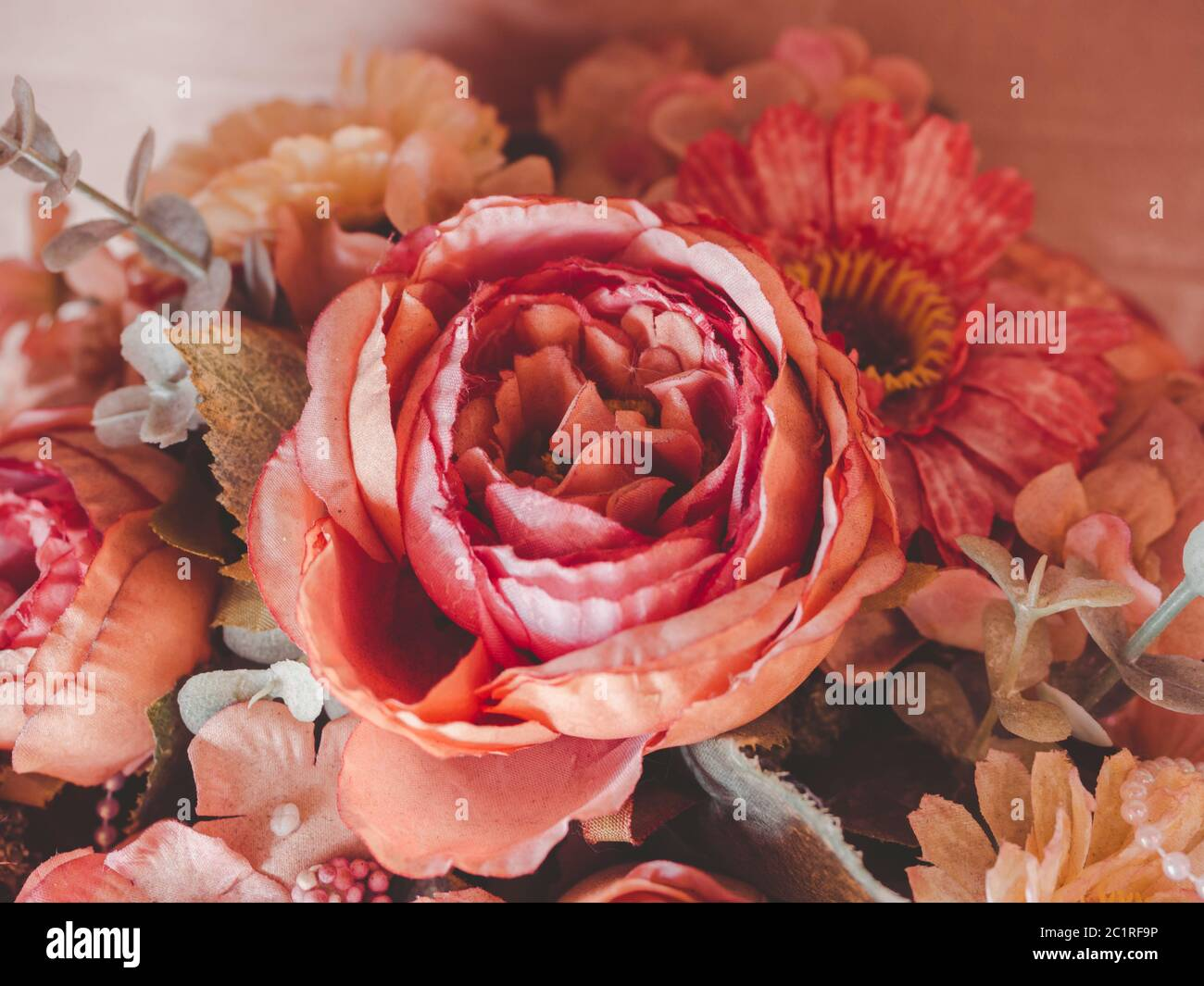 Beautiful Flower Bouquet Vintage Style Close Up Artificial Red Or Pink Roses Stock Photo Alamy