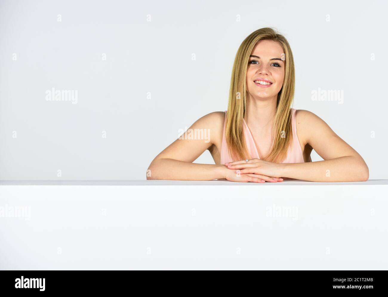 Femininity And Tenderness Lady Lean Copy Space Surface Commercial Banner Goods For Female Beauty Shop Adorable Woman Stand Behind Banner Advertisement Marketing And Promotion Portrait Of Girl Stock Photo Alamy