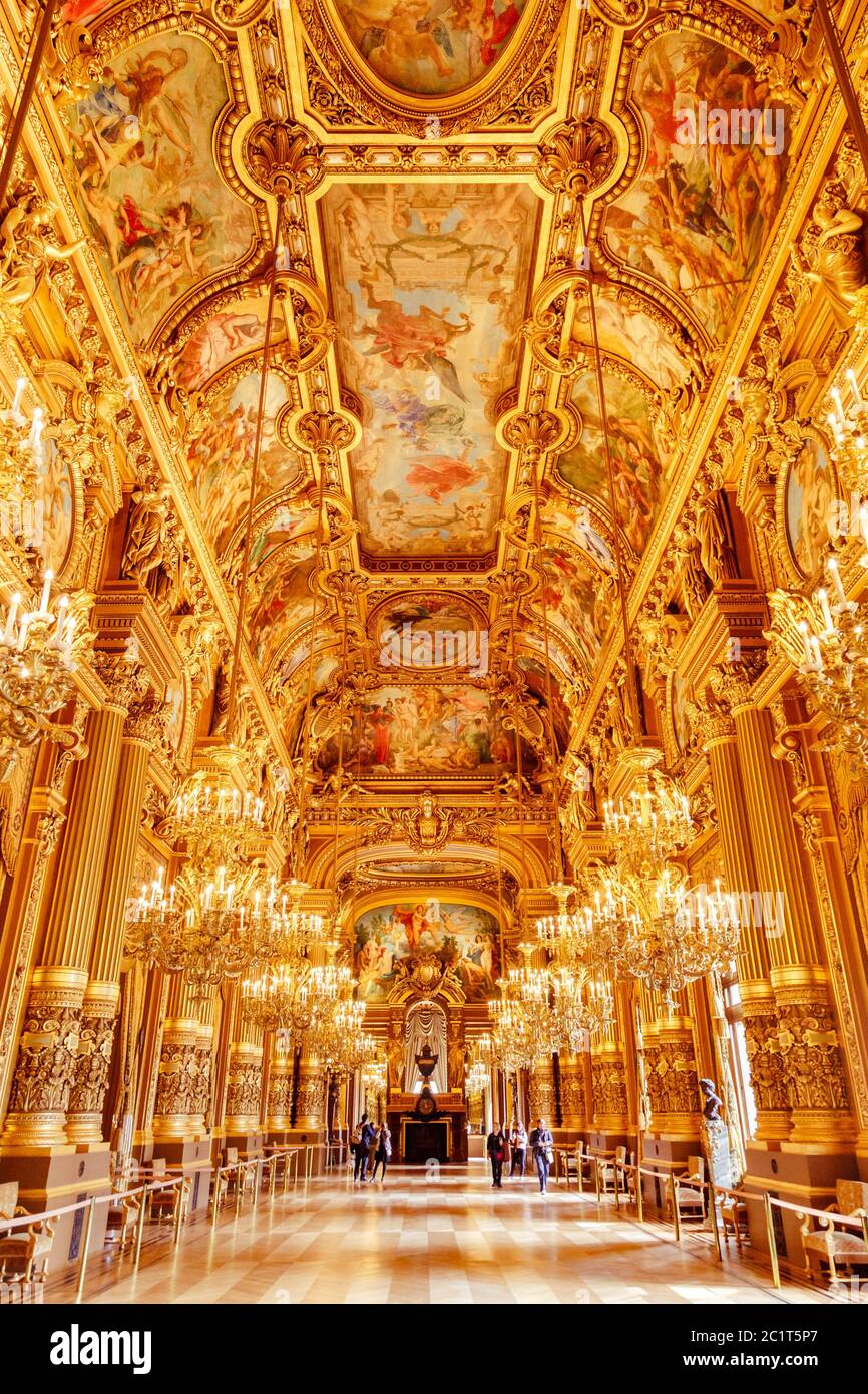 Paris, France, March 31 2017: Interior view of the Opera National de Paris Garnier, France. It was built from 1861 to 1875 for t Stock Photo