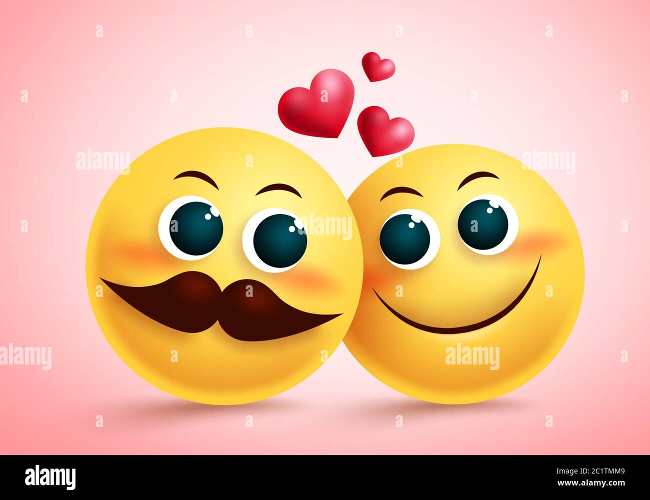 Smiley Emoji Couple In Love Vector Design Yellow Cute Emojis Lovers Character With Blush Face And Heart Element For Valentines And Relationship Stock Vector Image Art Alamy