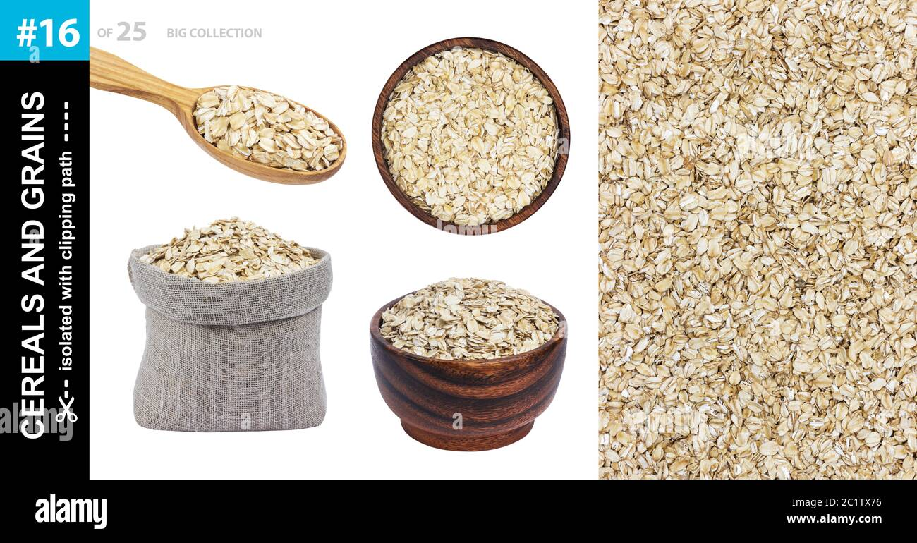 Oat flakes in different dishware isolated on white background, collection Stock Photo