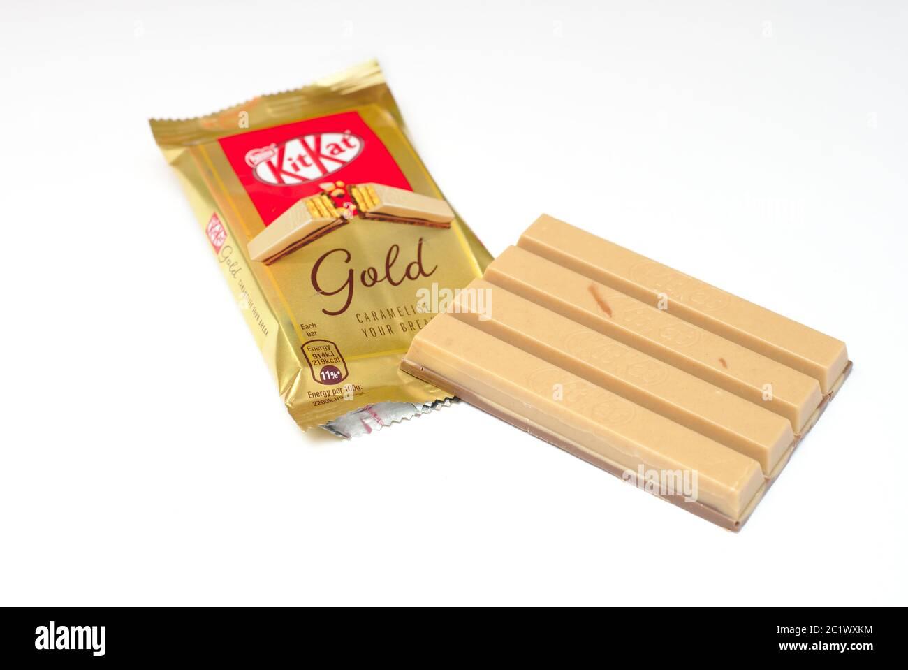 Kit Kat gold, UK limited edition Stock Photo