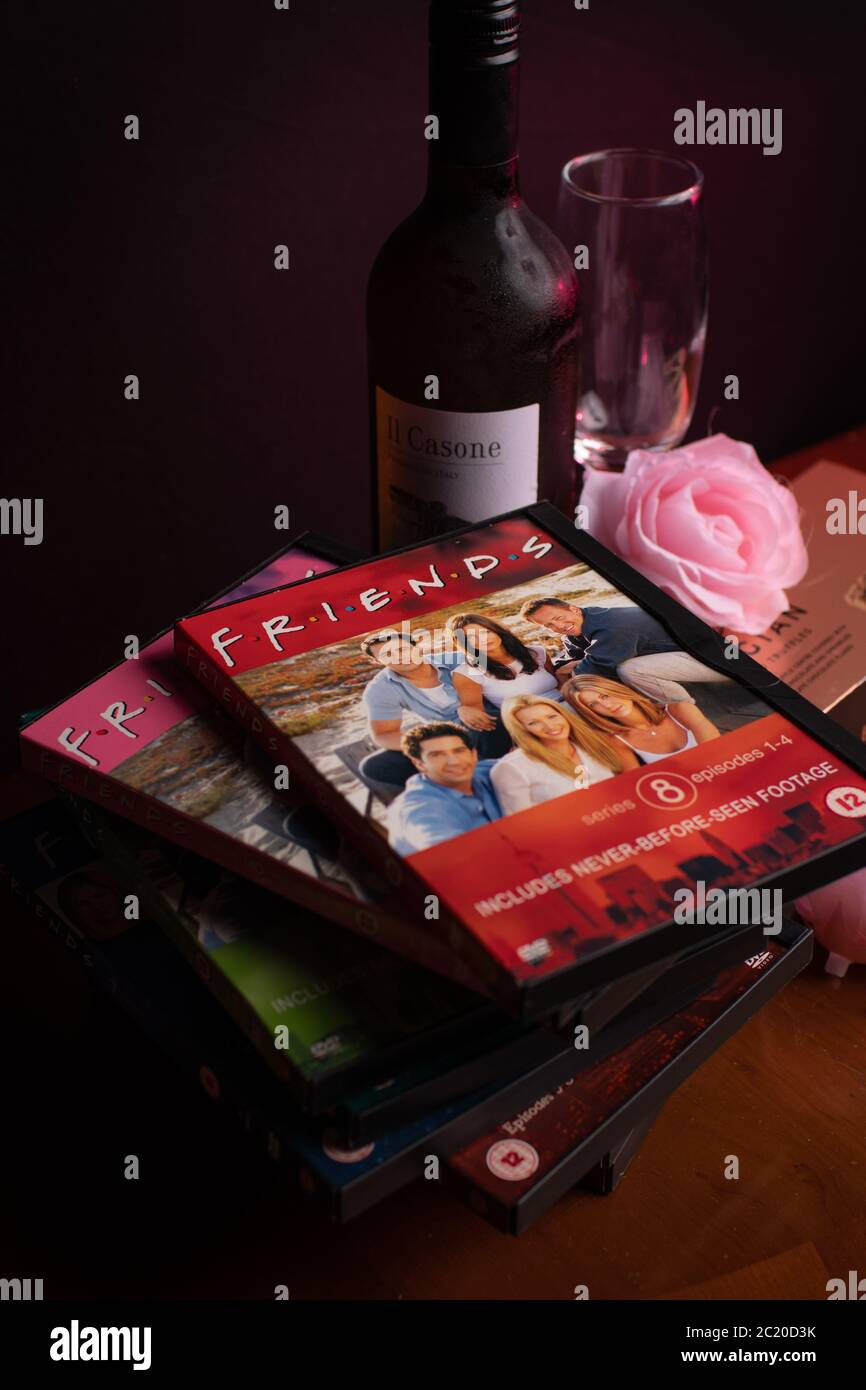 Collection of Friends DVDs. The hugely popular sitcom has recently been criticised for it lack of racial diversity in the light of the BLM campaign. Stock Photo