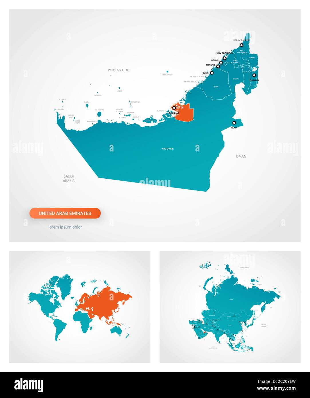 Editable Template Of Map Of United Arab Emirates With Marks United Arab Emirates On World Map And On Asia Map Stock Vector Image Art Alamy