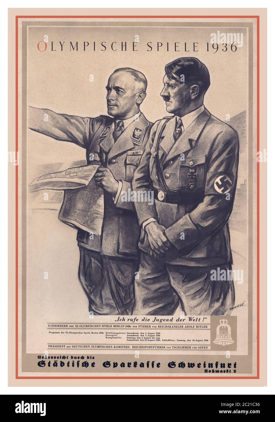 Berlin Olympics 1936 Vintage Poster With Adolf Hitler And Reich Sports Office Director Tschammer Und Osten Study The Site Of The 1936 Summer Olympics German Olympische Sommerspiele 1936 Officially Known As The