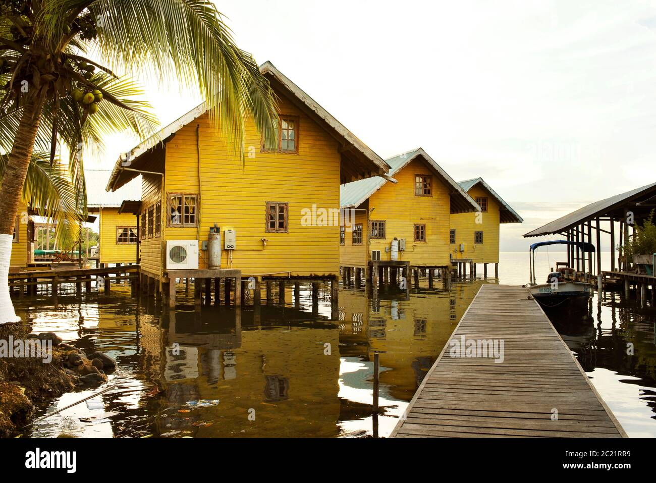 Over the water holiday bungalows. Stilt houses are popular in the Caribbean, Bocas del Toro, Bocas Town, Panama. Oct 2018 Stock Photo
