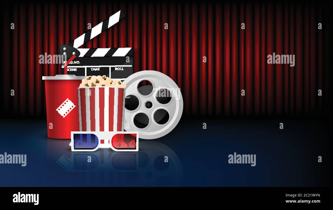 Cinema Background Concept Movie Theater Object On Red Curtain Background Vector Illustration Stock Vector Image Art Alamy