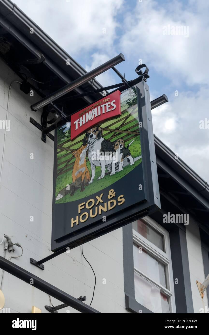 Fox & Hounds pub sign. Ewood, Blackburn. Stock Photo