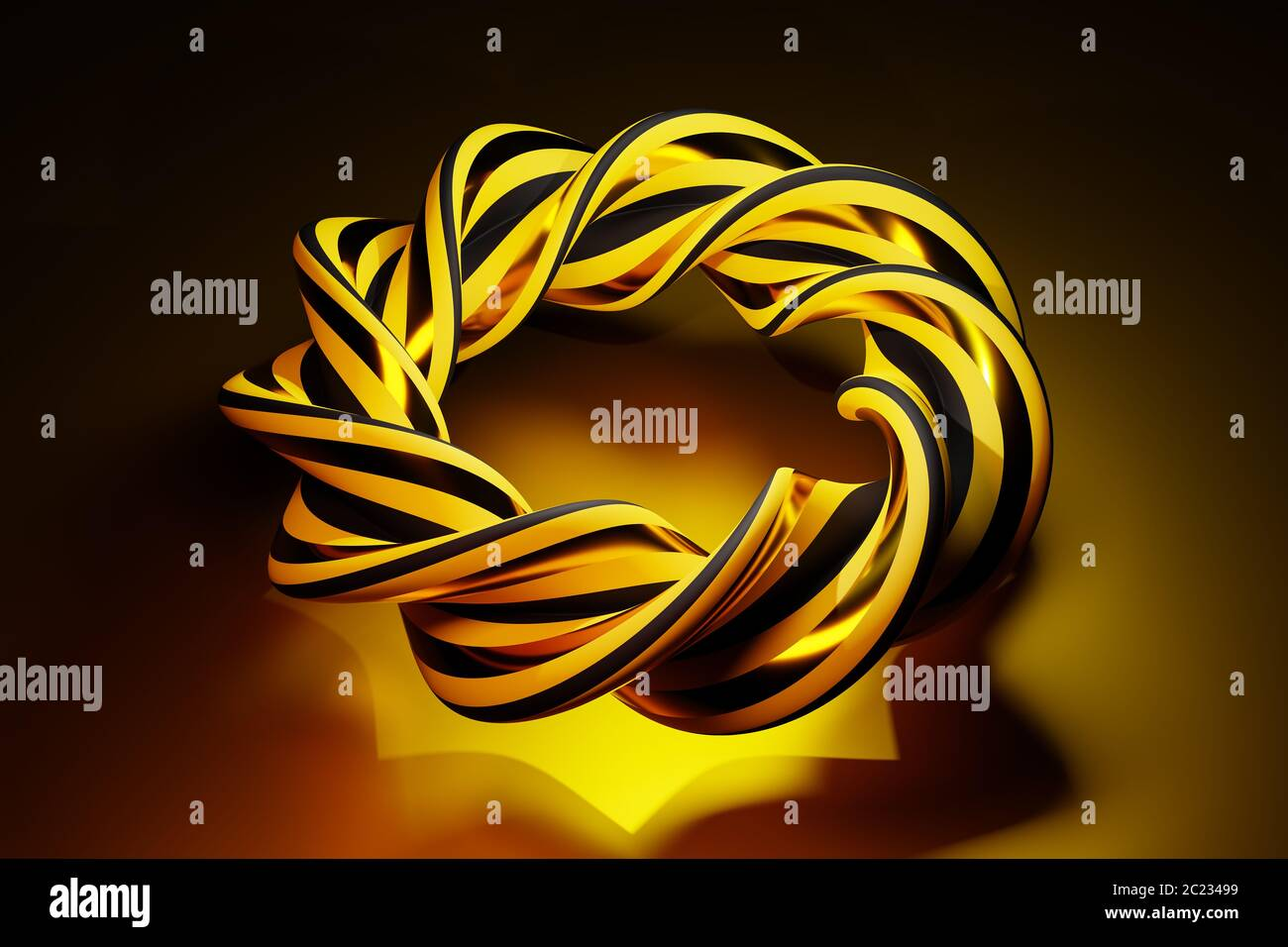 Complex intertwined abstract object in black and gold - concept for solving of complex problems - beauty in mathematics Stock Photo