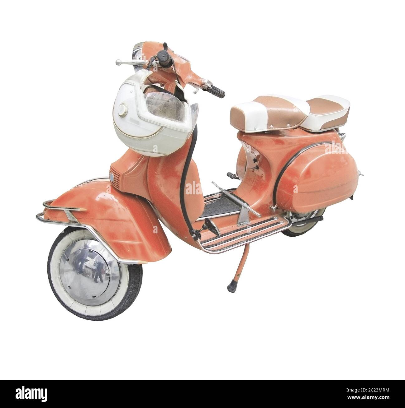 Vintage Scooter With Helmet Toned In Shade Of Living Coral Stock Photo Alamy