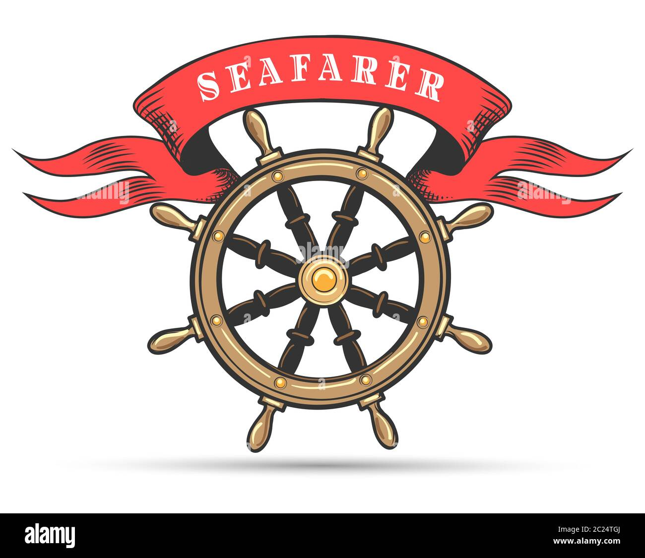 Ship Steering Wheel And Banner With Wording Seafarer Vector Illustration Stock Vector Image Art Alamy