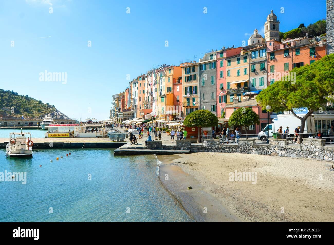 The colorful town, sea, Gulf of Poets and sandy beach at Porto Venere Italy in La Spezia Italy. Stock Photo