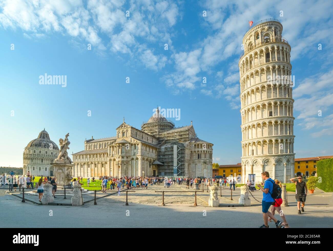 The Field of Miracles with it's Baptistery, Duomo cathedral and the Leaning Tower in the Tuscan city of Pisa, Italy. Stock Photo