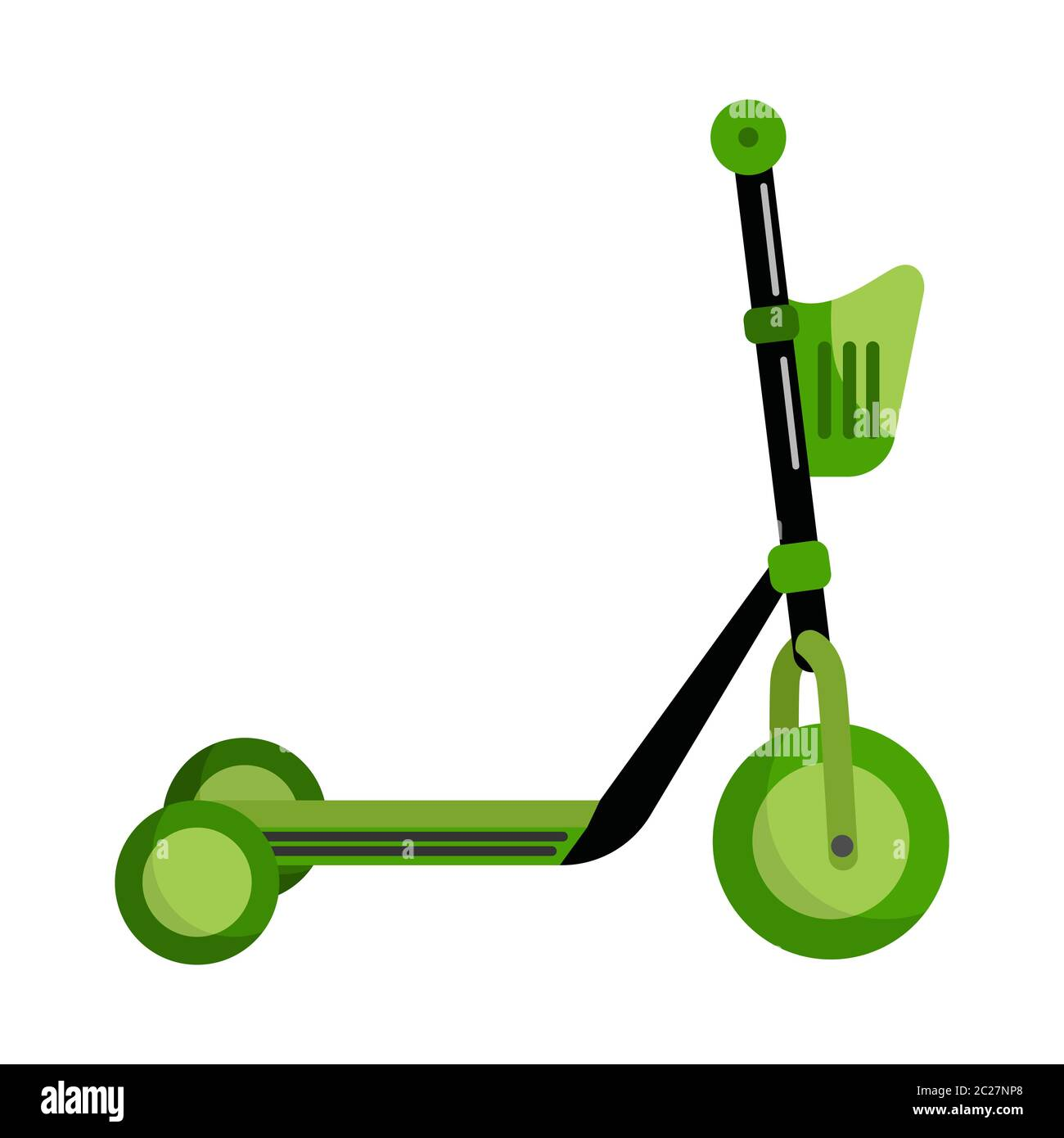Green Kick Scooter With A Basket Isolated On White Background Push Scooter Transportation In Flat Style Eco Transport For Kids Vector Illustration Stock Vector Image Art Alamy
