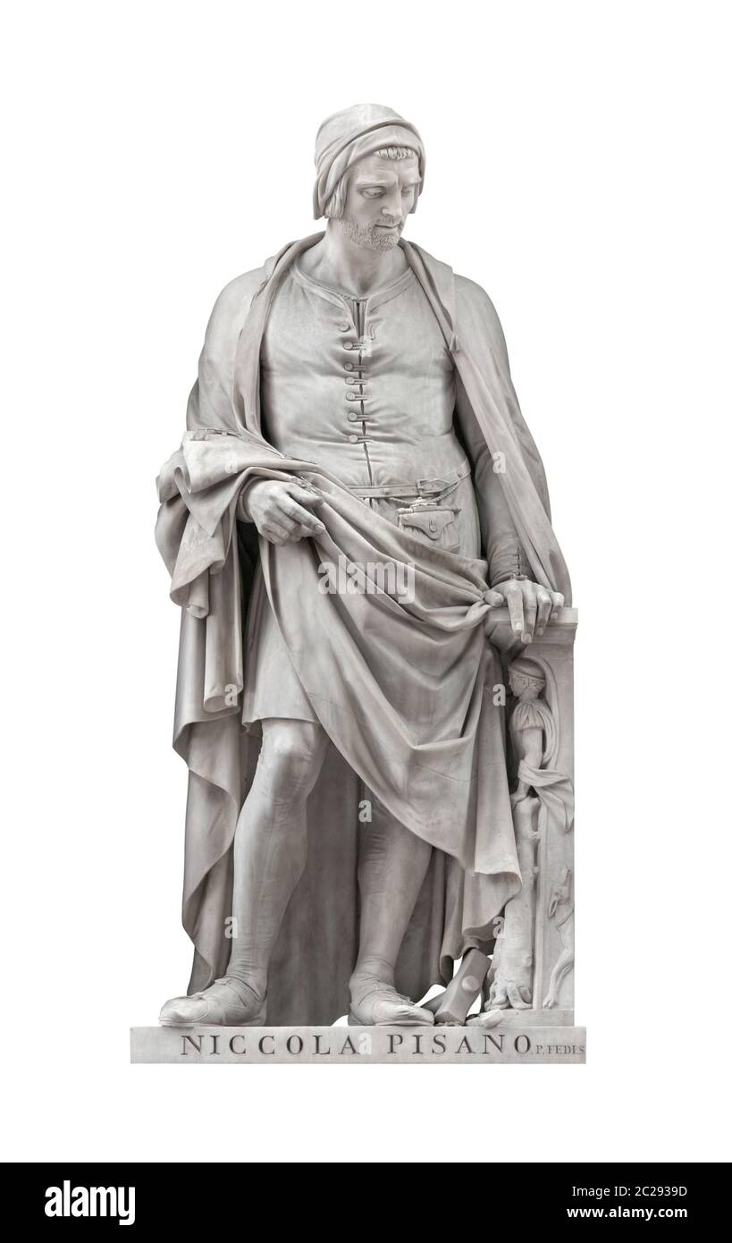 Niccola Pisano statue on facade of Uffizi Gallery created by Pio Fedi in 1849. Isolated on white background with clipping path. Stock Photo