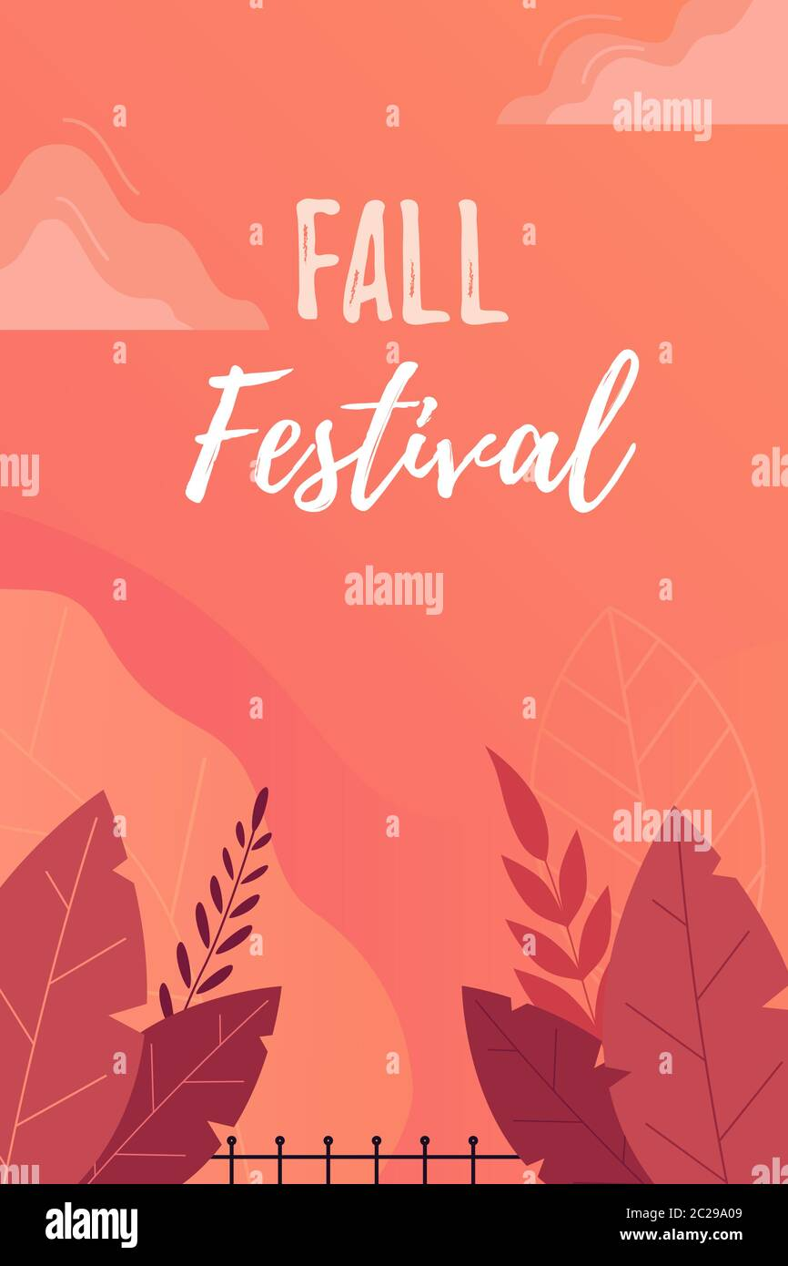 Fall Festival Poster, Invitation or Flyer. Bright autumn leaves on orange background with flat leaves.  Stock Vector