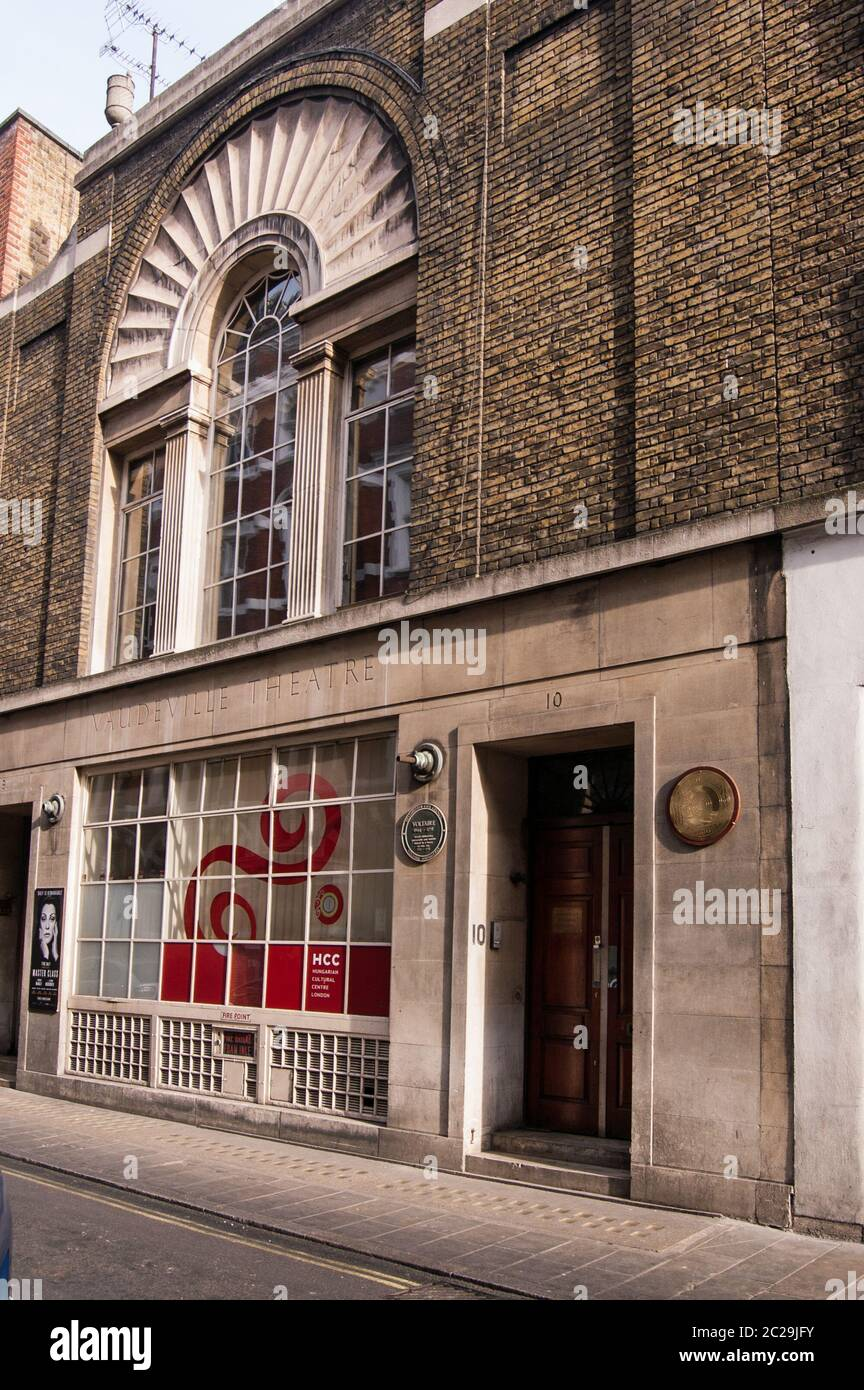 London, UK - March 25, 2012:  Rear entrance to the Vaudeville Theatre in the West End of London together with the Hungarian Cultural Centre.  The Fren Stock Photo