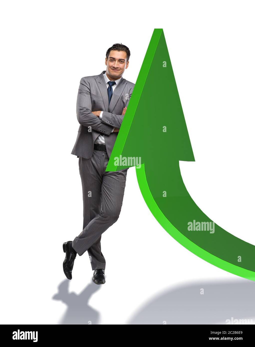Young businessman in business concept with charts Stock Photo
