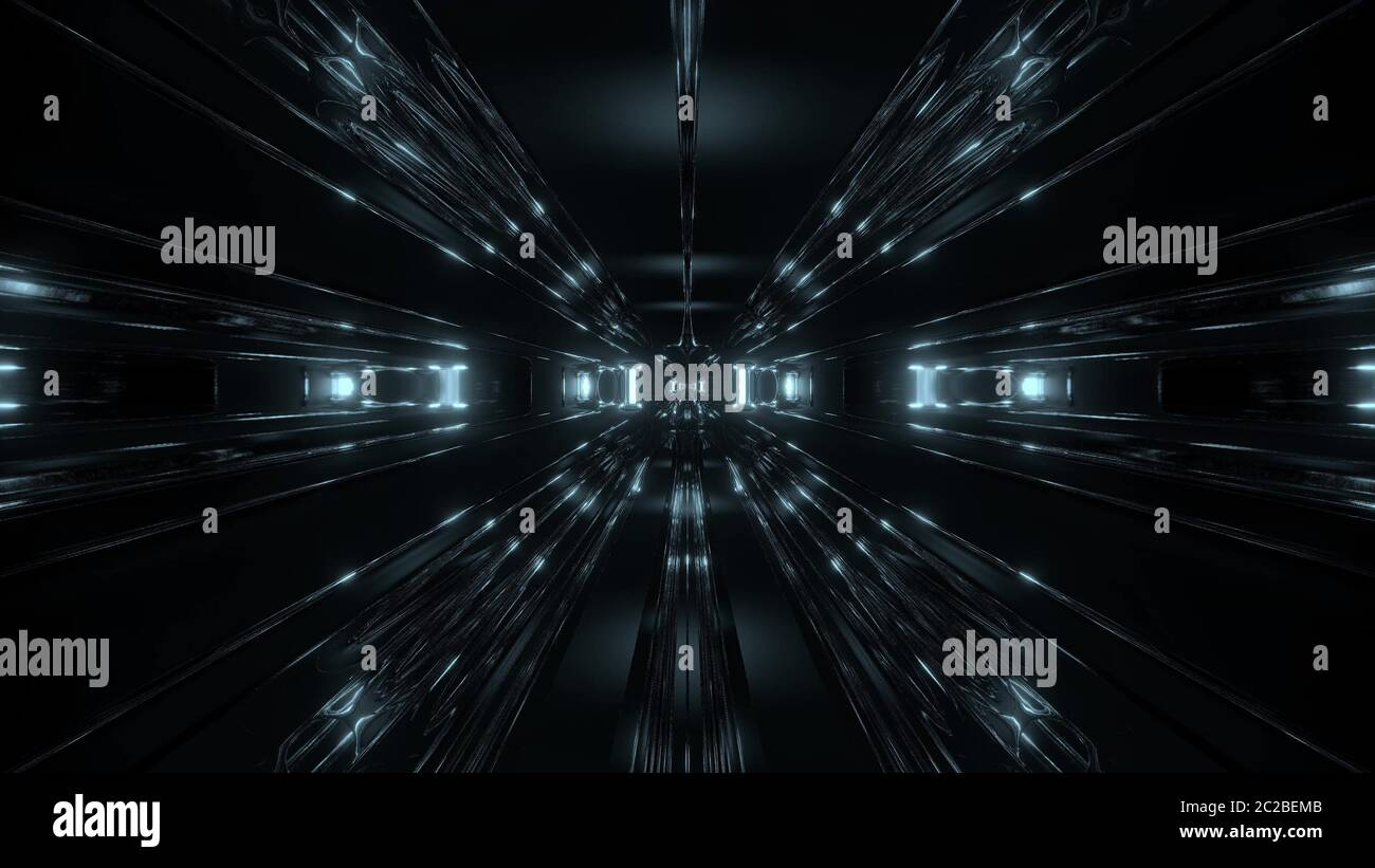 Dark Scifi Tunnel Corridor With Reflective Contur Wireframe 3d Illustration Wallpaper Background Futuristic Sci Fi Alien Style Design 3d Rendering Stock Photo Alamy