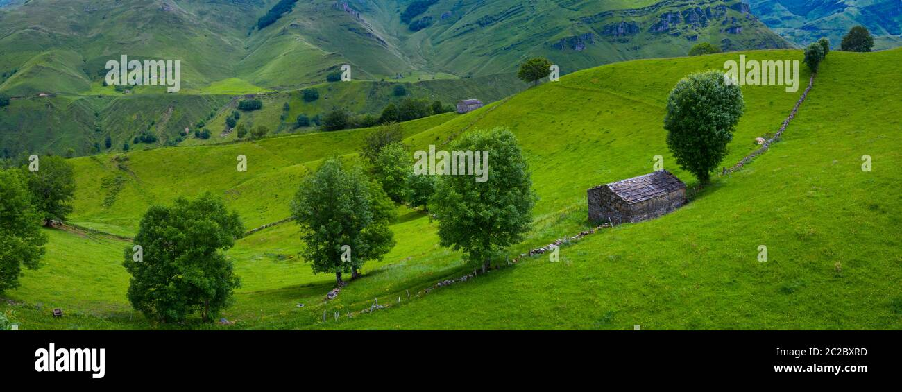 Aerial view with a drone of the spring landscape of pasiegas cabins and meadows in Miera Valley in Autonomous Community of Cantabria. Spain, Europe Stock Photo
