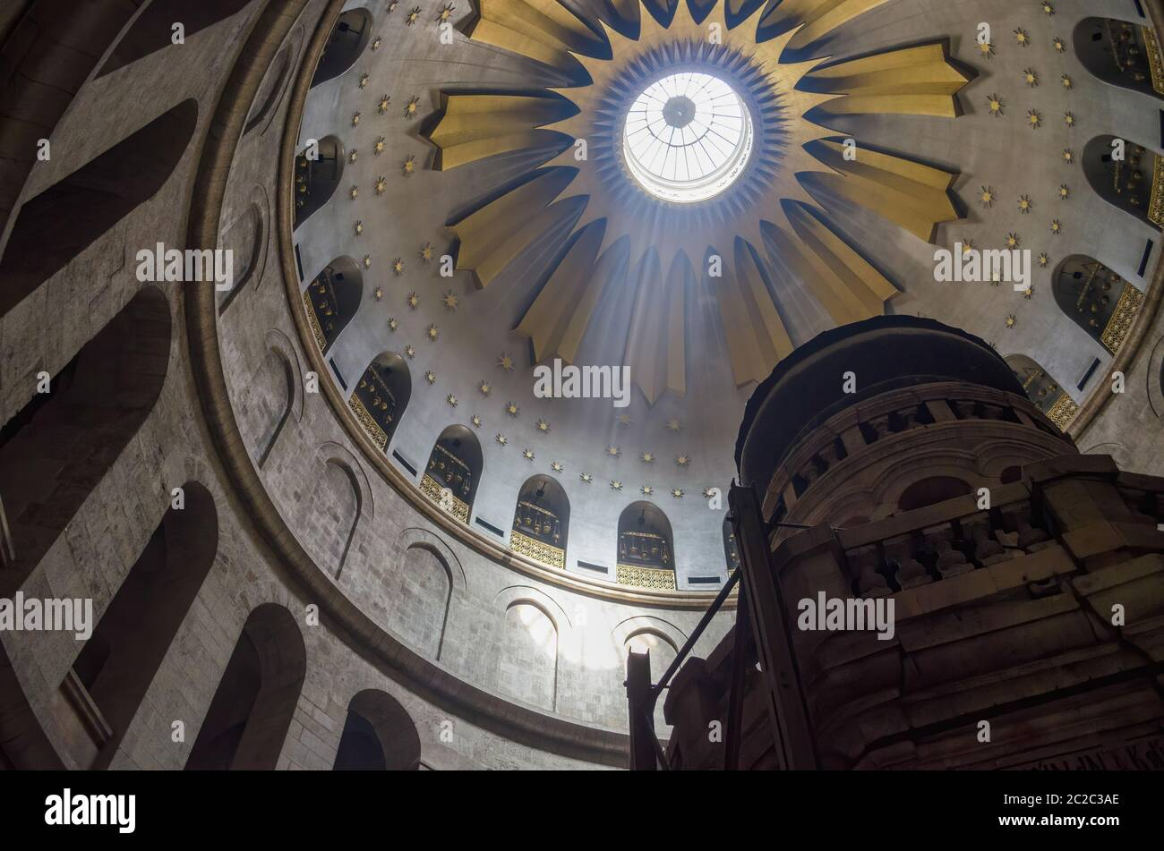 Holy Tomb, Jerusalim 04.30.2014 Interior of historic building with holy tomb and ornate dome decorated with golden elements located in Jerusalem Stock Photo