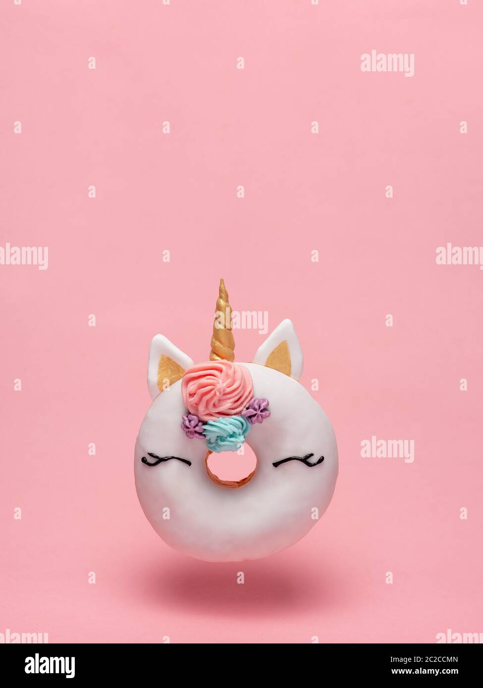Unicorn Donut Flying Pink Background Copy Space Stock Photo Alamy