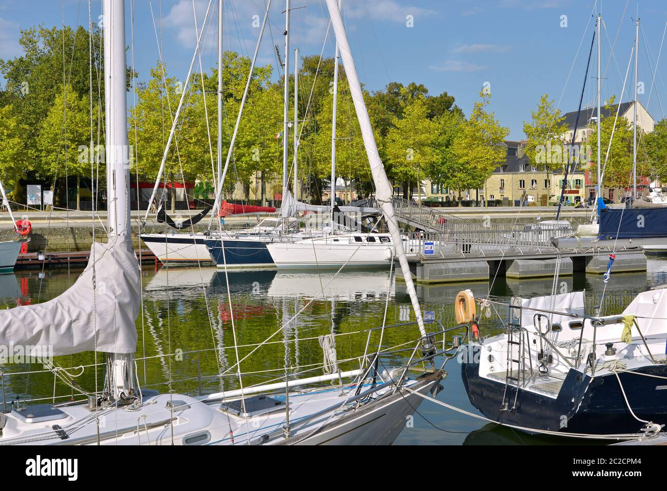 Sailboats in the port at Vannes, a commune in the Morbihan department in Brittany in north-western France Stock Photo
